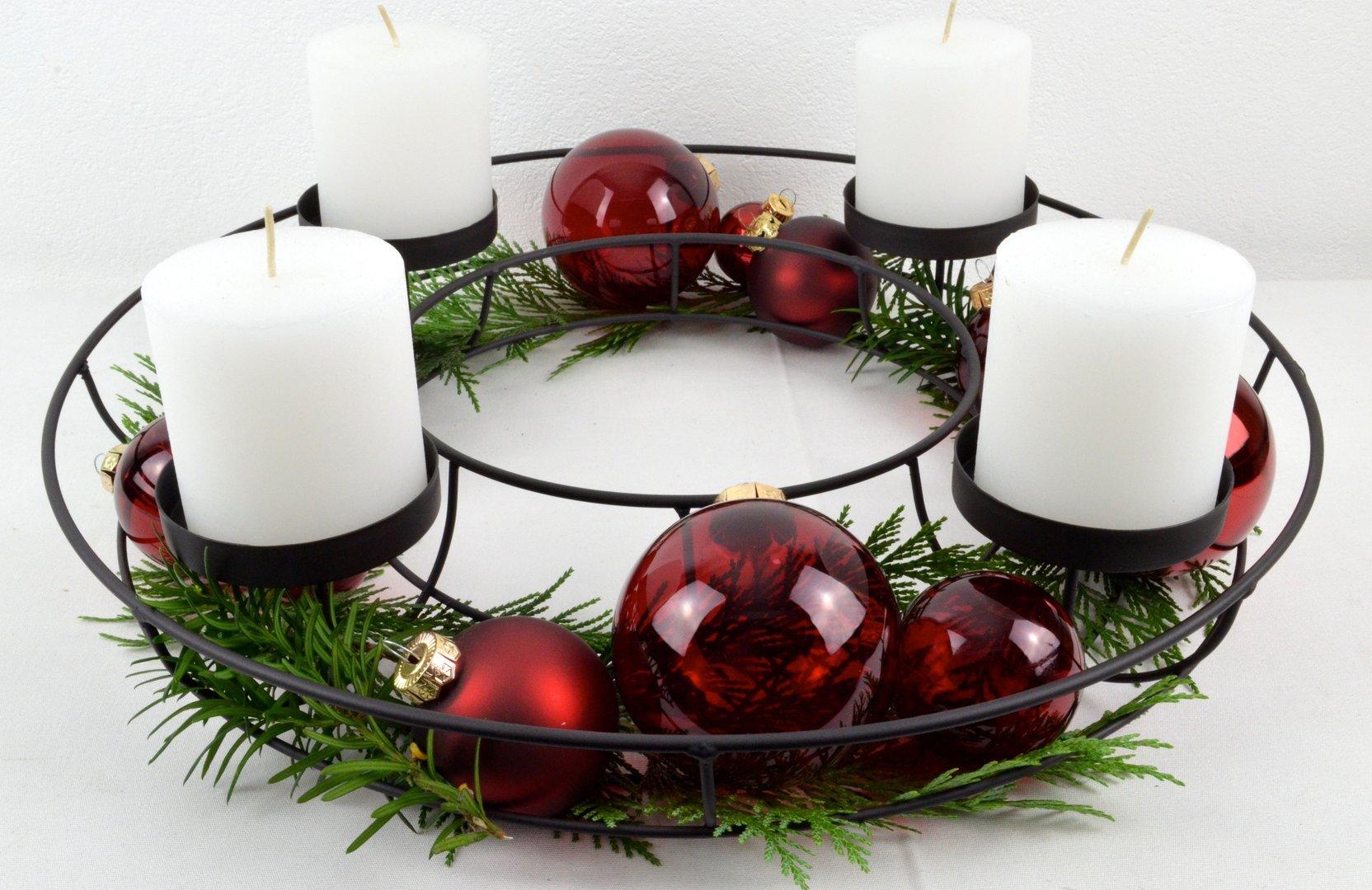 Adventskranz 43 cm schwarz zum individuellen dekorieren for Blechtiere garten