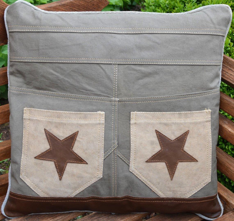 Kissen jeans mit sternen canvaskissen sofakissen for Blechtiere garten