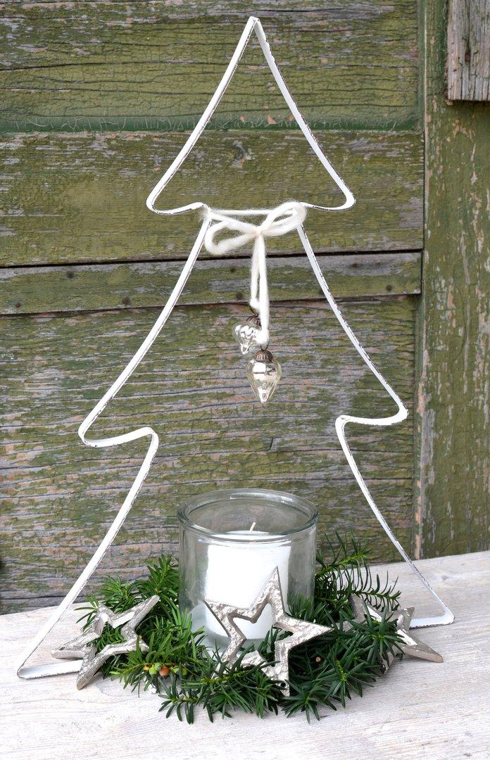 Weihnachtsbaum mit glas in wei aus metall vintage stil for Blechtiere garten
