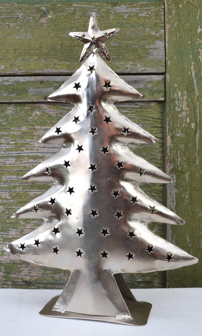 weihnachtsbaum mit stern aus metall in silber teelichthalter. Black Bedroom Furniture Sets. Home Design Ideas