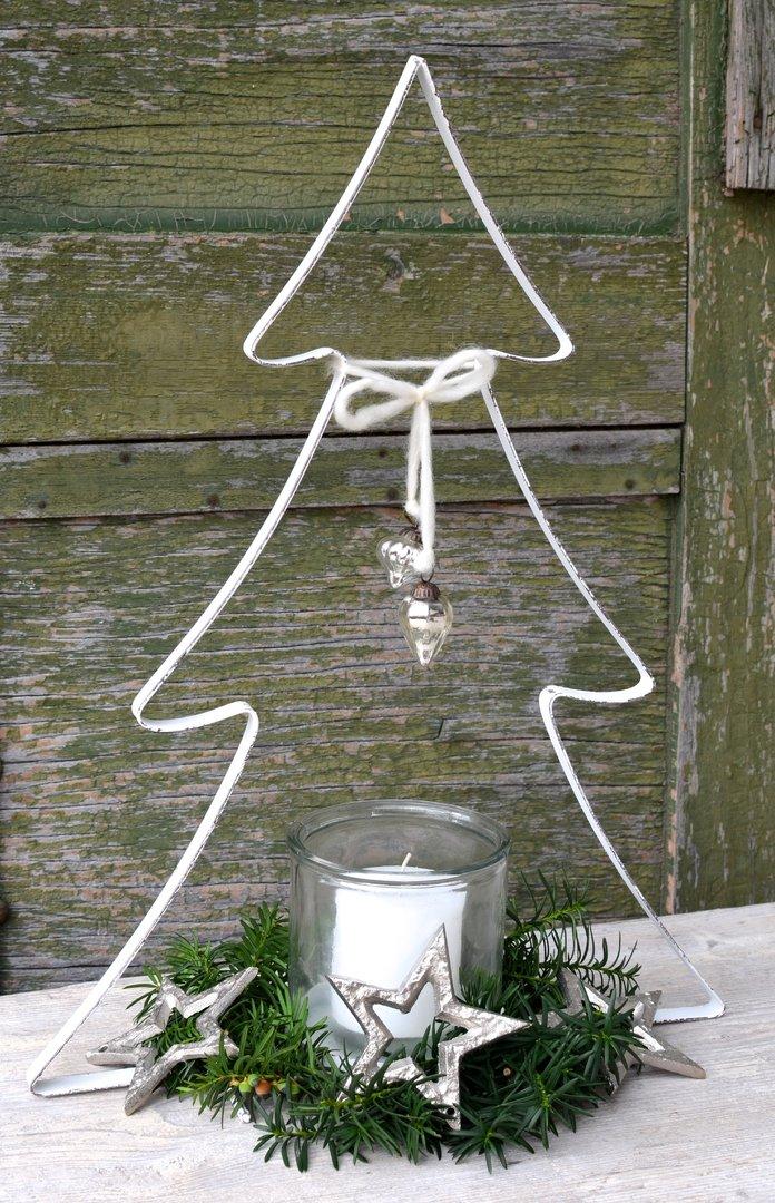 weihnachtsbaum mit glas in wei aus metall vintage stil. Black Bedroom Furniture Sets. Home Design Ideas