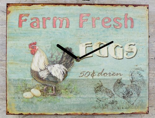 Wanduhr Blechschild Farm Fresh Eggs